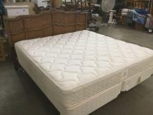 Vintage Wooden King Size Headboard With Sealy Posturepedic King Size