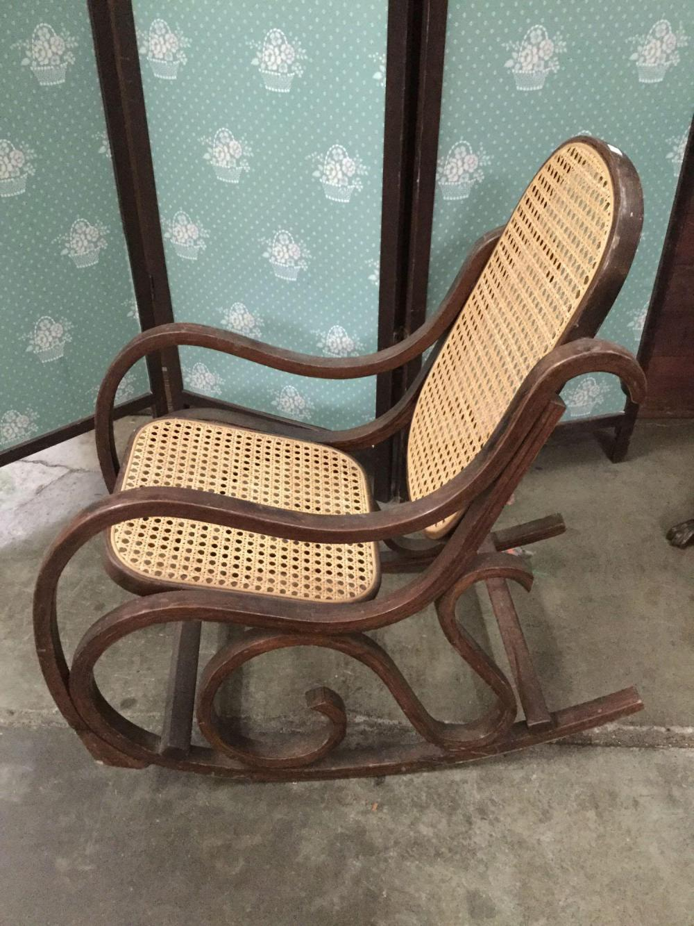 Awe Inspiring Vintage Child Size Wood Rocking Chair With Cane Wicker Seat Lamtechconsult Wood Chair Design Ideas Lamtechconsultcom