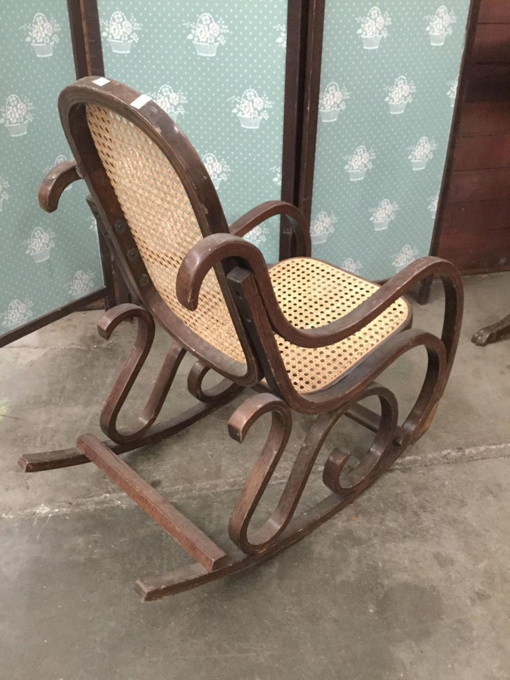 Terrific Vintage Child Size Wood Rocking Chair With Cane Wicker Seat Creativecarmelina Interior Chair Design Creativecarmelinacom