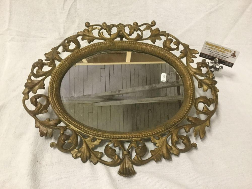 Gold Metal Wall Mirror: Vintage Ornate Gold Metal Framed Oval Wall Mirror With Victo