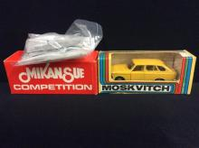 Mikansue Competition 1926 Panhard Razor Blade and a Moskvitch model car made in the Soviet Union