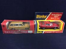 Dinky Toys Triumph TR7 Sports car and a Lada 2102 model car made in the Soviet Union
