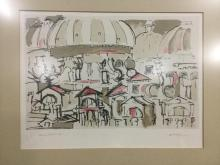 Amazing Artists proof hand signed print by Donati - drawing of town scene - great lines