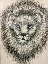 Lovely original Blue eyed lion drawing in frame
