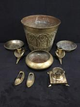 set of vintage turkish/indian brass ashtrays, ash bucket, etc