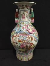 Fantastic vintage japanese hand painted figural vase w/ handles