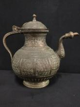 Vintage etched brass turkish style teapot/coffeepot