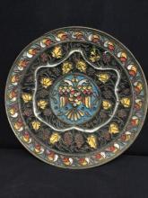 Amazing antique european cloissone? handmade plate w/ phoenix emblem