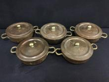 vintage copper/brass and stainless french lidded cooking pot set