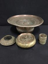 Collection of wonderful turkish/eastern brass ornate ashtrays