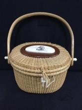 Wonderful nantucket Basket purse w/ handle and ship craving relief