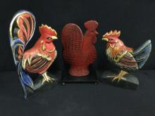 Selection of rooster and chicken figurines / decor