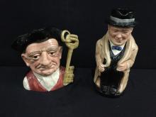 Royal Doulton Winston Churchill and Gaoler hand painted tobey mugs