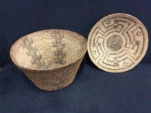 2 Antique turn of the century southwest Native American hand made baskets - stunning