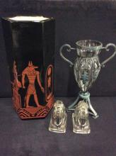 selection of decor including vintage look Grecian & Egyptian vases w/ two glass horse pieces