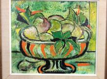 Beautiful June Bellamy still life oil painting of fruit in a bowl with gorgeous colors