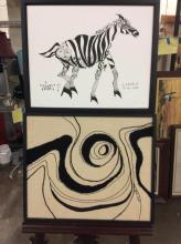 selection of two modern whimsical art pieces - zebra print and abstract embroidery