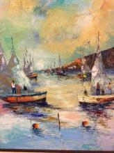 fantastic impressionist original ship scene oil painting - signed
