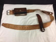 Vintage knife, gun holster, and ammo