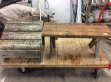 set of primitive wooden pieces - bench and step/seat