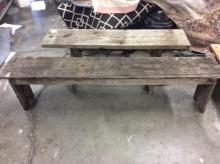 Set of two outside wooden benches