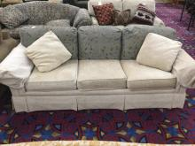 Modern custommade couch in good cond - cream with blue& brown back cushions