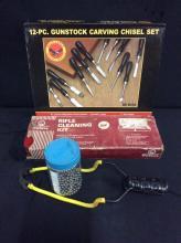 gunstock carving set, cleaning kit and a slingshot