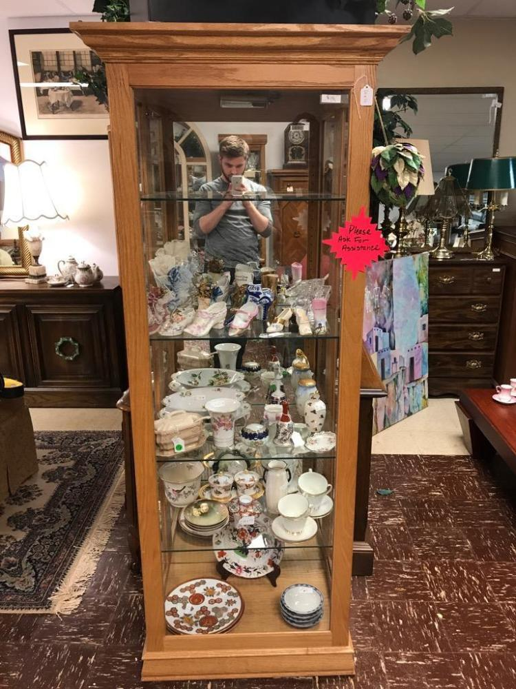 Wonderful Oak Lighted Curio Display Cabinet W Side Doors An