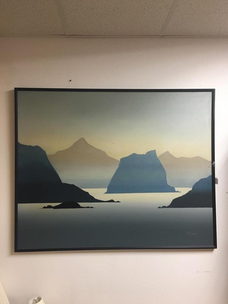 Large Silhouette Landscape Original Painting Signed Howard
