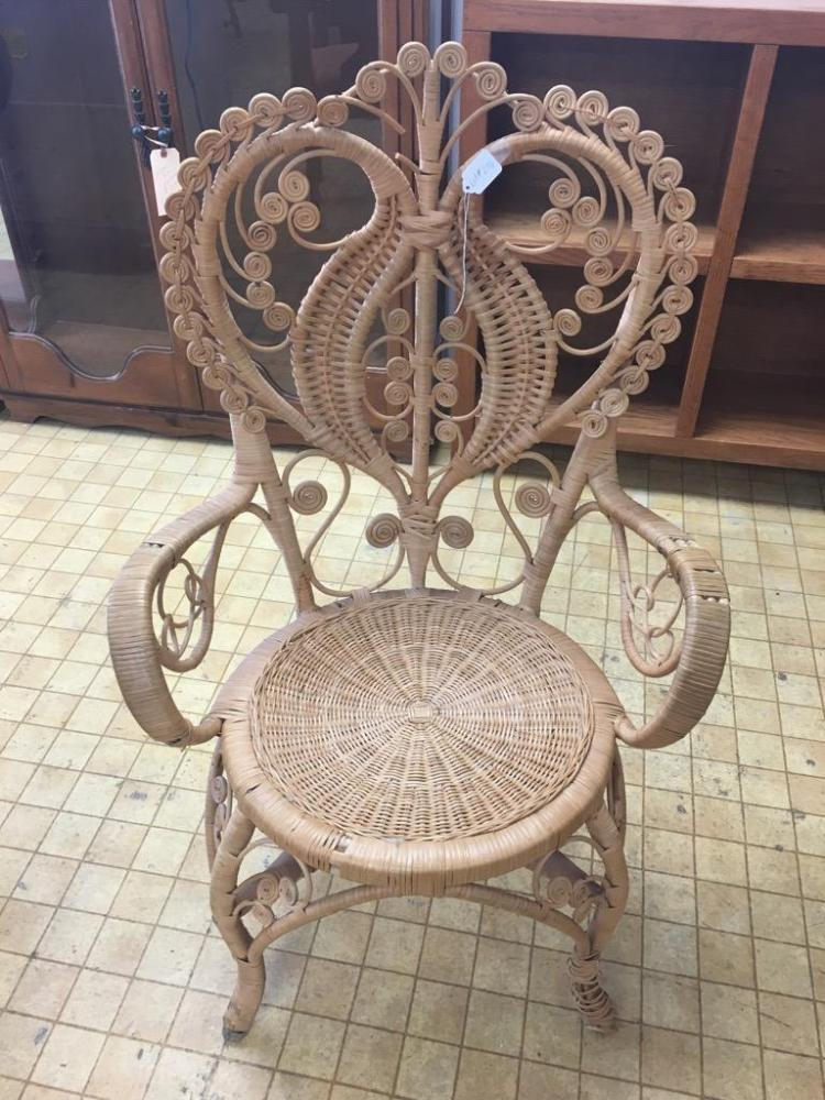 Vintage Ornate Rush And Wicker Chair