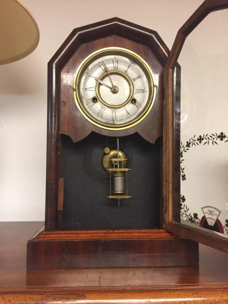 Antique Jerome Amp Co Time Strike Mantle Clock As Is No Key