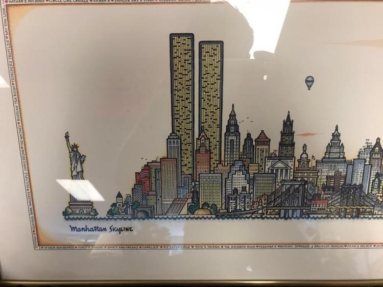Manhattan Skyline Art Print By Tony Graham 1980 W Cartoon S