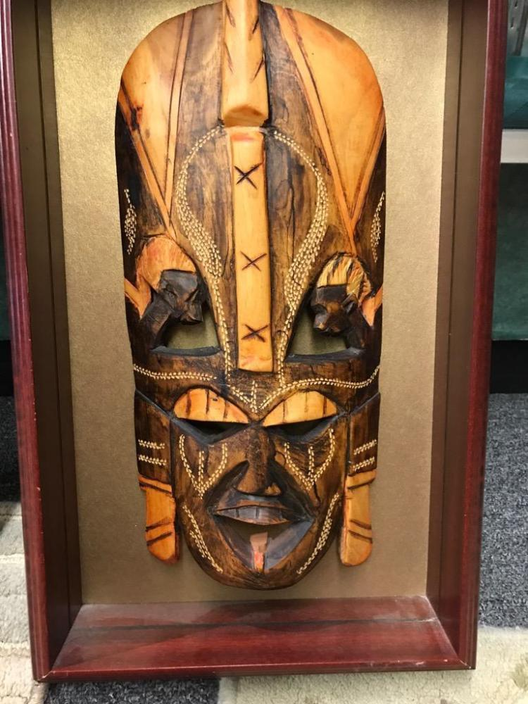 Set Of Two Authentic African Tribal Masks One In Shadow Bo