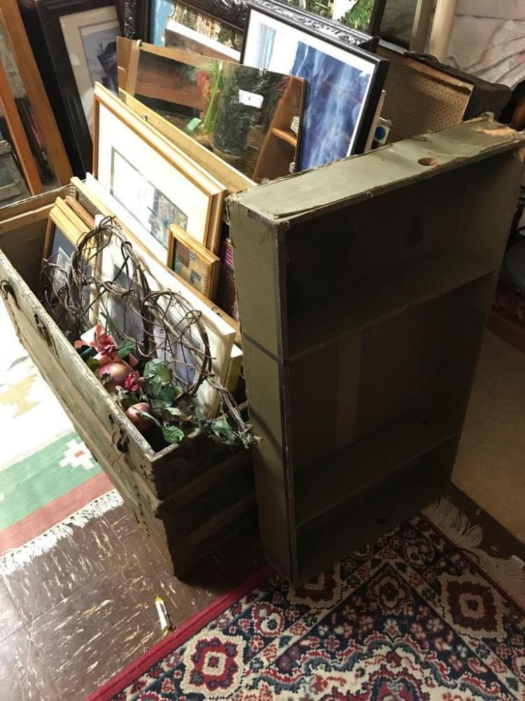 Steamer Trunk Filled W Huge Collection Of Art Prints Amp Frame