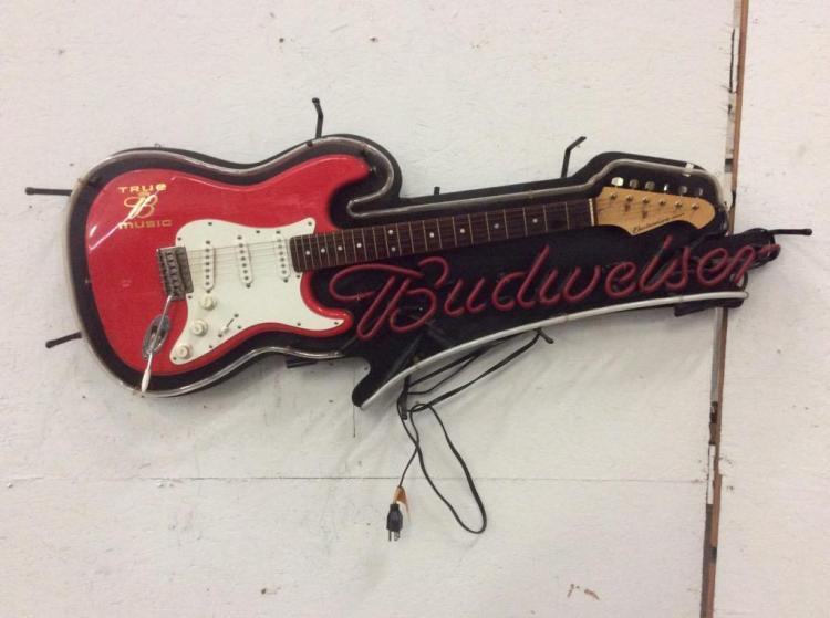 Vintage Budweiser neon light up strat electric guitar sign