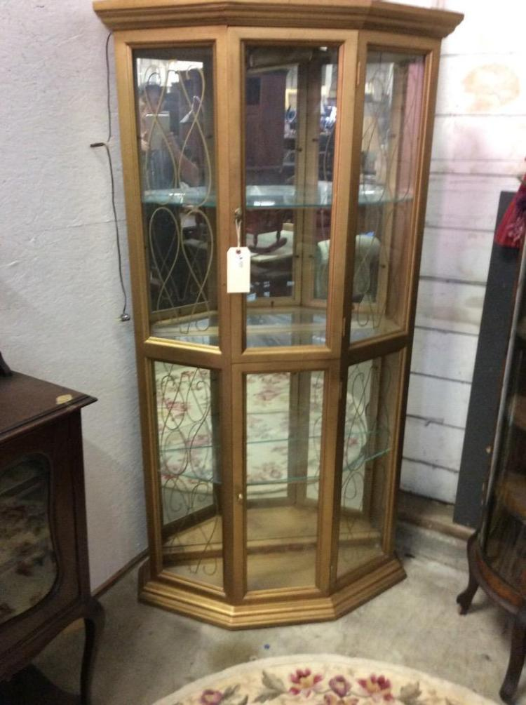 Lovely Deco Style Corner Display Cabinet W Lighted Top