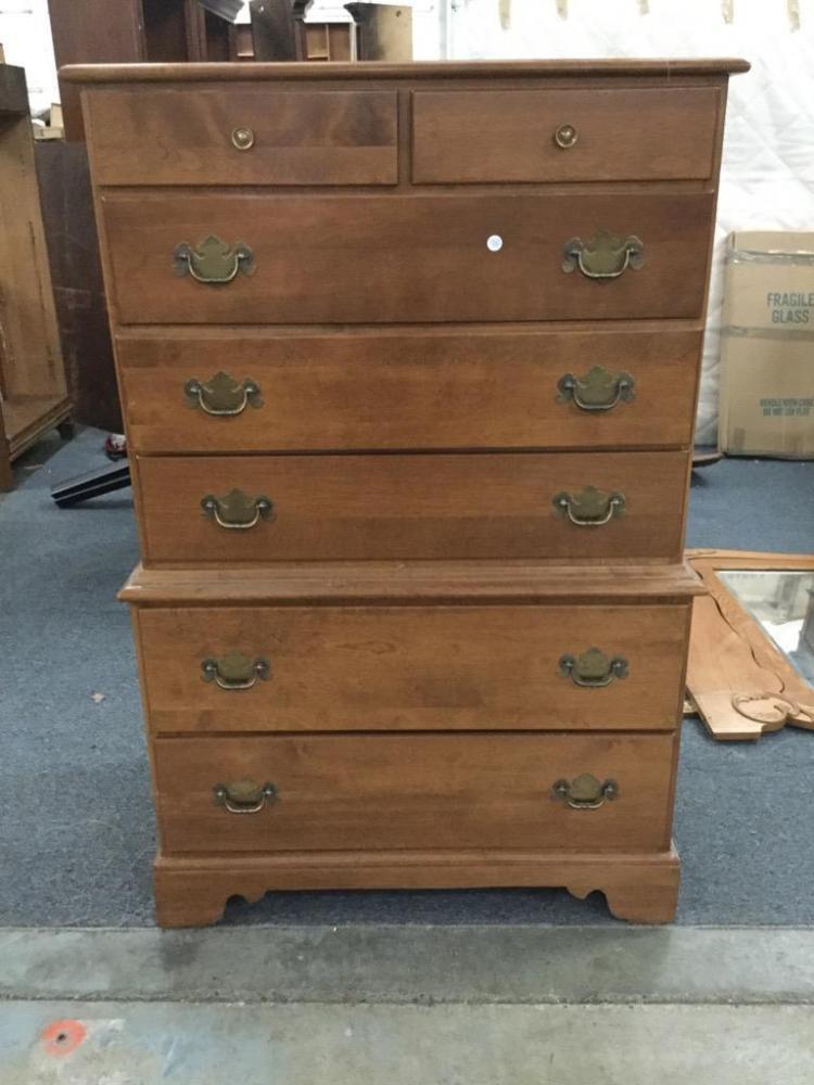 Vintage Maple Ethan Allen Tall Boy Dresser