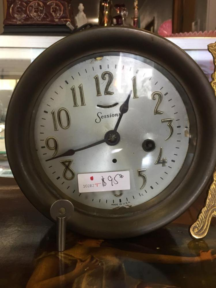 Antique Sessions Brass Cylinder Alarm Clock In Fair Cond As