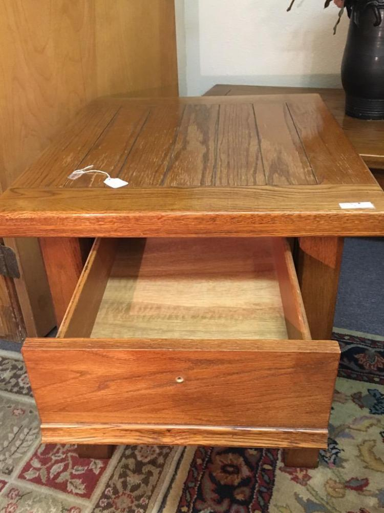 Set Of Mission Style Oak Coffee Table And End Tables Good