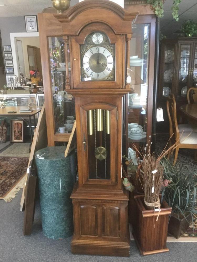 Vintage Ethan Allen Grandfather Clock With Oak Case Good C