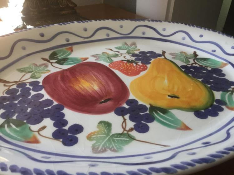 Collection Of Vintage Colorful Ceramic Bowls And Large Fruit