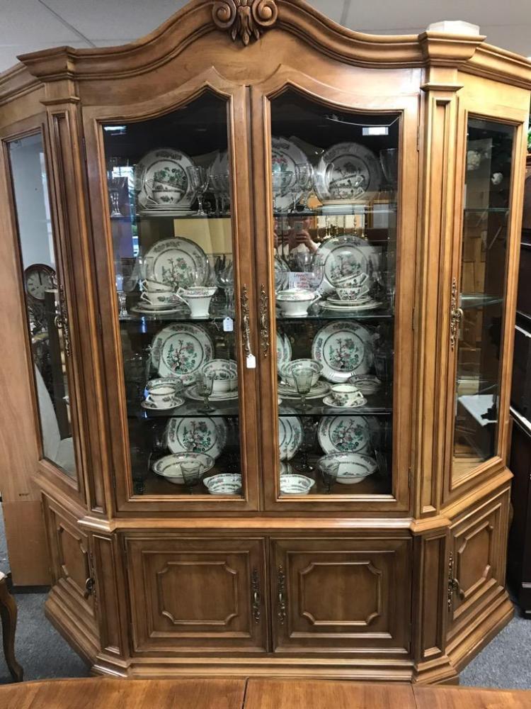 Beautiful Antique Inspired Oak China Hutch W Elegant Design