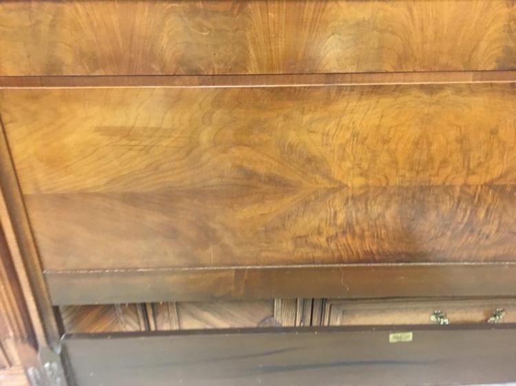 Phenix Furniture Co Flame Mahogany Veneer Deco Headboard W
