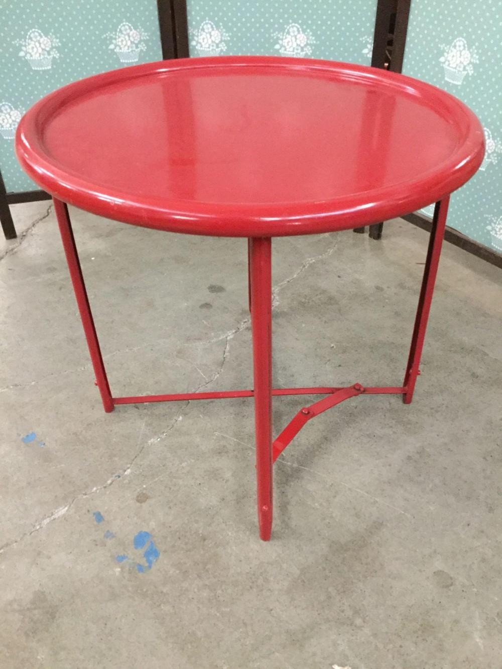 Lot Vintage Red Painted Metal Round Two Piece Folding Table
