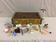 Antique Coca Cola yellow bottle crate w/ approx 35 + perfumes - see pics