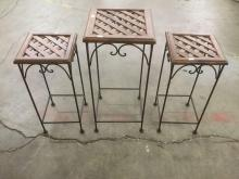 Lot of 3 modern matching lattice top metal decorative plant stands