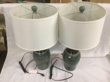 Lot of 2 matching two tone modern ceramic table lamps