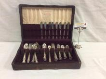57 item Old Company Plate silver plate flatware set in a 1847 Rogers Bros. Silverware box