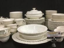 125 pc. collection of Wedgewood embossed Queens Ware china set incl. plates, bowls etc