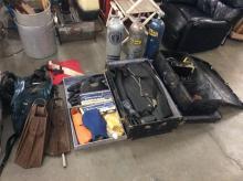 Vintage scuba gear incl. oxygen tanks, wetsuits, fins, scuba fins, seaquest ADVi vest ++